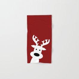 Reindeer on red background Hand & Bath Towel