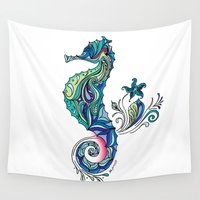 seahorse Wall Tapestries featuring Seahorse by Green Girl Canvas