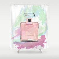 perfume Shower Curtains featuring perfume bottle by HeyShay