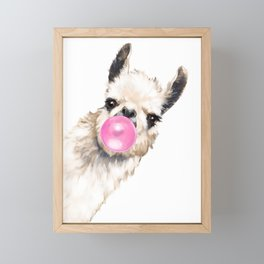 Bubble Gum Sneaky Llama Framed Mini Art Print