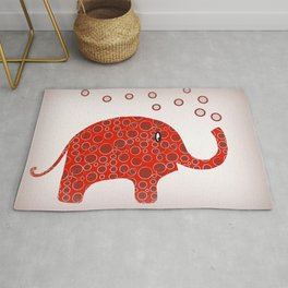 Red Circles Elephant Rug