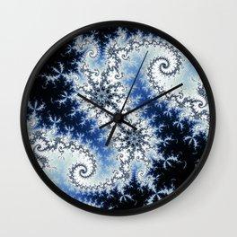 Three Blue Stars - fractal design Wall Clock