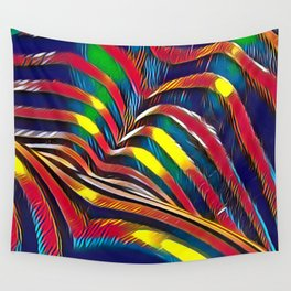 2602s-AK Nude Body Back Striped Abstraction Bright Color Pastel by Chris Maher Wall Tapestry