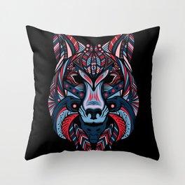 Wolf head art Throw Pillow