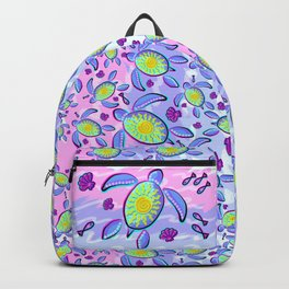 Sea Turtle and Sun Abstract Glitch Ultraviolet Symbol Backpack