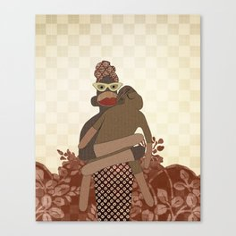 Sock Monkey Mother and Child Canvas Print