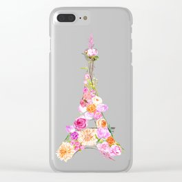 Floral Eiffel Tower Clear iPhone Case