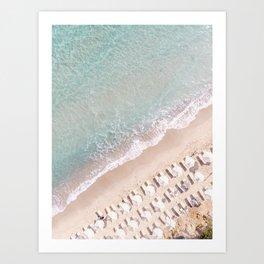 Vulisma Beach Crete, Greece   Drone Photography Pastel Colors Art Print