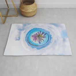 Purple lupines - tiny planet Rug