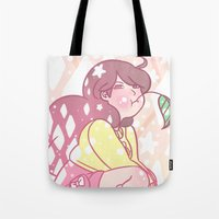 bee and puppycat Tote Bags featuring Bad Bee by IdentityPollution