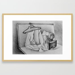 Drawing illustration of still life with shirt and iron Framed Art Print