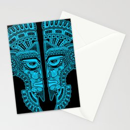 Blue and Black Aztec Twins Mask Illusion Stationery Cards