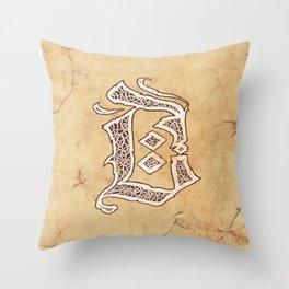 Letter D (Franktur, gothic, blackletter style) Throw Pillow