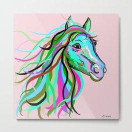 Teal and Pink Horse Metal Print