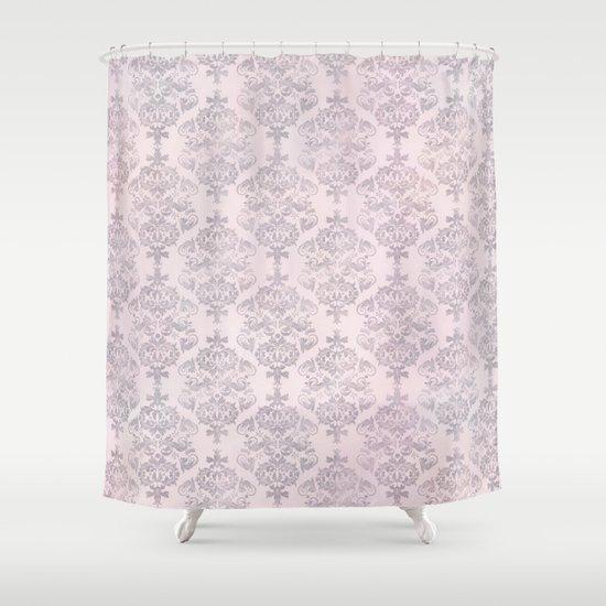 Rose Grey Pastel Damask Watercolor Pattern Shower Curtain