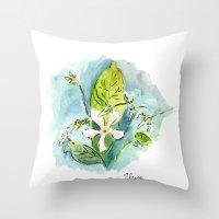 jasmine Throw Pillows featuring Jasmine by Elena Sandovici