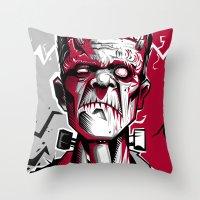 frankenstein Throw Pillows featuring frankenstein by don motta