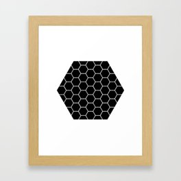 Geometric shape t-shirts & prints: Black Hexagon (Hex x Hex) Multiple colours available... Framed Art Print