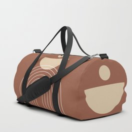 Mid Century Modern Geometric 16 (Terracotta and Beige) Duffle Bag