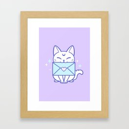 Happy Mail Kitten Framed Art Print