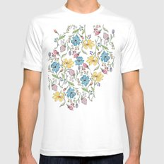 Spring flowers pattern - watercolor White Mens Fitted Tee MEDIUM