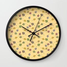 Colorado Aspen Tree Leaves Hand-painted Watercolors in Golden Autumn Shades on Butter Yellow Wall Clock