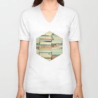 vintage V-neck T-shirts featuring Bookworm by Cassia Beck