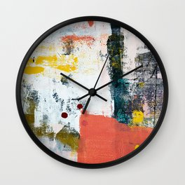 13th and Grant: a pretty street art piece in pink black and yellow by Alyssa Hamilton Art Wall Clock