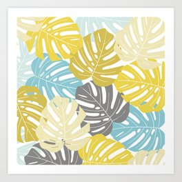 Colourful tropical leaves Art Print