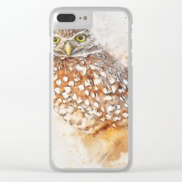 Bird animal owl art abstract Clear iPhone Case