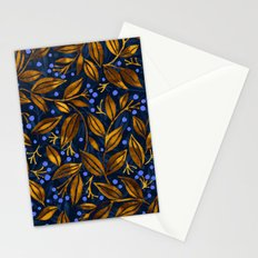 BLUE BERRIES GOLDEN LEAVES Stationery Cards