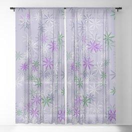 Lavander glow flower power Sheer Curtain