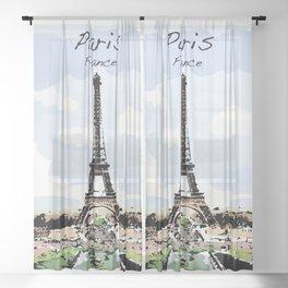 Eiffel Tower Paris France Sheer Curtain