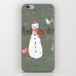Cute Christmas Snowman & Birds Winter Scene iPhone Skin