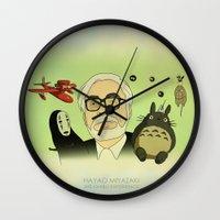 hayao miyazaki Wall Clocks featuring Hayao Miyazaki by Borja Espasa
