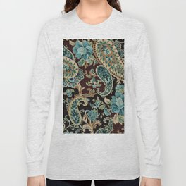 Brown Turquoise Paisley Long Sleeve T-shirt