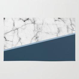 Real White Marble Half Ocean Sapphire Steel Blue Rug
