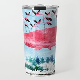 Flying Whale and steam train with Foxes Travel Mug
