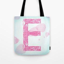 Floral Letter 'E' Tote Bag