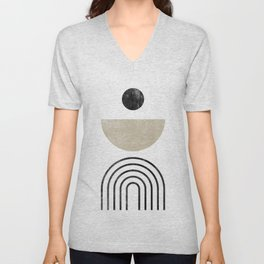 Abstract Beige and Black Geometric Shapes and Lines Print Unisex V-Neck