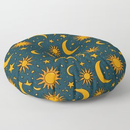 Vintage Sun and Star Print in Navy Floor Pillow
