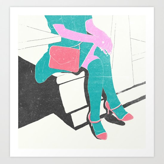 legs (lost time, risograph) Art Print