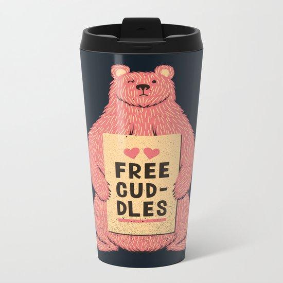 Cute Bear Free Cuddles Pink Metal Travel Mug