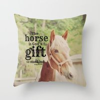 arab Throw Pillows featuring Horse Quote Arab proverb by KimberosePhotography