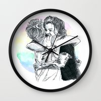 larry stylinson Wall Clocks featuring Larry Hug 2015 by rachaellovesfood
