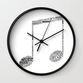 Typographic music note Wall Clock