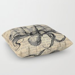 Octopus Kraken attacking Ship Antique Almanac Paper Floor Pillow