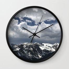Clouds, Rockies, Spring Wall Clock