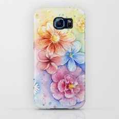 Flowers Watercolor Floral Colorful Rainbow Painting Slim Case Galaxy S6