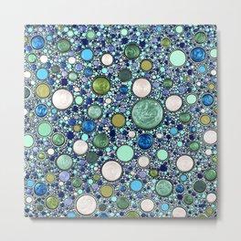 Mountain Zen - Mint Dots Metal Print